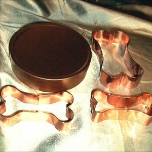 Other - 3 nesting dog bone cookie cutters with storage tin